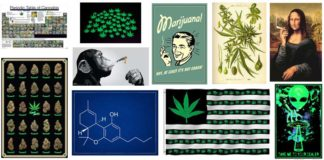 weed flags and posters
